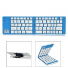 Ultra-Thin Folding Bluetooth v3.0 66-Key-Tastatur für Samsung Tablet / iPad - Weiß + Blau