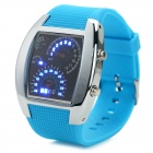 Instrument Panel Style Rubber Band Blue LED Light Digital Wrist Watch - Blue (1 x CR2032)