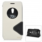 Roar TPU + PU Flip Open Case w/ Stand / Display Window for Asus ZenFone 5 - White + Black