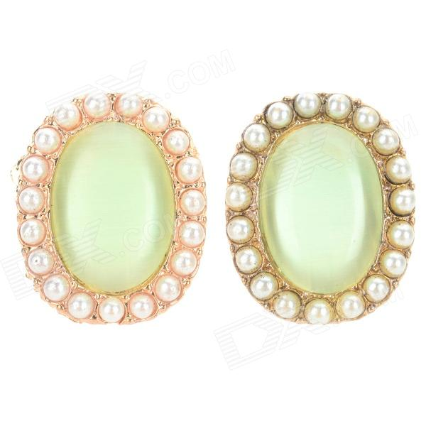 Фото Retro Cat's Eye Style Zinc Alloy Stud Earrings for Women - Green (Pair) pair of charming titanium steel geometric earrings for women