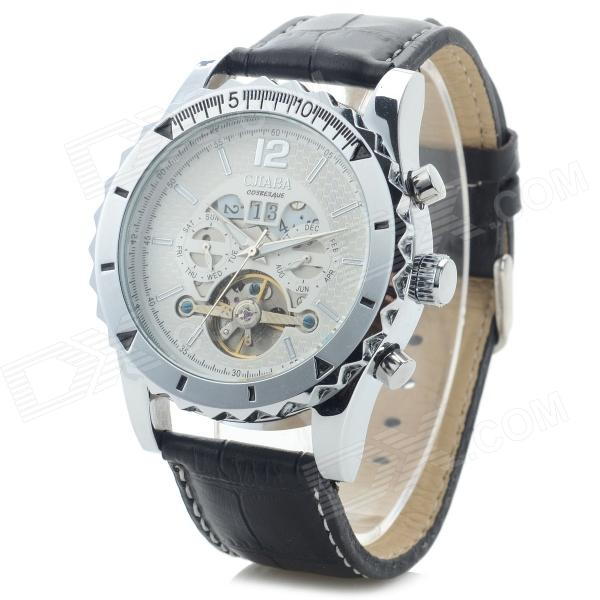 CJIABA DF306 Men's Fashionable Leather Band Analog Mechanical Wrist Watch - White + Black cjiaba gk8001 w pu leather band analog skeleton mechanical wrist watch for men black white