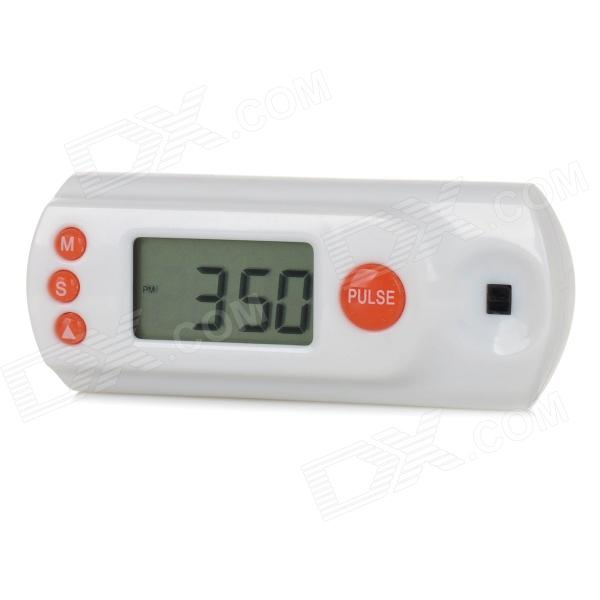 GP-033 0.9 LCD Screen Heart Rate Tester Monitor w/ Clock + Alarm - White + Orange (2 x LR44) кабель pockets speaux 033 white