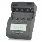 "FT2000 2.8"" LCD 24W 12V 4-CH Intelligent AA / AAA Rechargeable Batteries Charger - Black (EU Plug)"