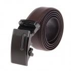 Men's Stylish Casual Zinc Alloy Automatic Buckle Leather Belt - Dark Brown