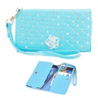Elonbo J6V8 Pearl + Roses PU Leather Full Body Case Wallet for Samsung Galaxy S3 / S4 - Light Blue