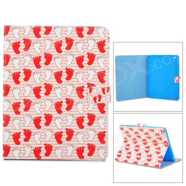 все цены на Cute Little Feet Pattern Protective PU Leather Case for IPAD 2 / 3 / 4 - Red + Multicolored онлайн