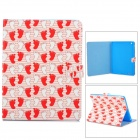Cute Little Feet Pattern Protective PU Leather Case for IPAD 2 / 3 / 4 - Red + Multicolored