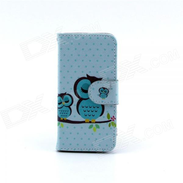 Sleeping Owl Pattern Flip-open PU Case w/ Stand / Card Slot for IPHONE 5 / 5S - Blue + Multi-Color owl pattern protective pu leather plastic case w stand for iphone 5 5s blue black