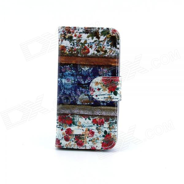 Flower Pattern Flip-open PU Leather Case w/ Stand / Card Slot for IPHONE 5 / 5S - Multi-Color new style pu leather flower pattern