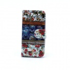 Flower Pattern Flip-open PU Leather Case w/ Stand / Card Slot for IPHONE 5 / 5S - Multi-Color
