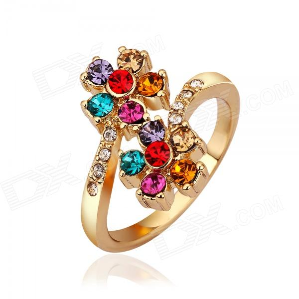 Women's Fashionable Flower Style Rhinestone Studded Ring - Golden + Multi-colored (US Size: 8)