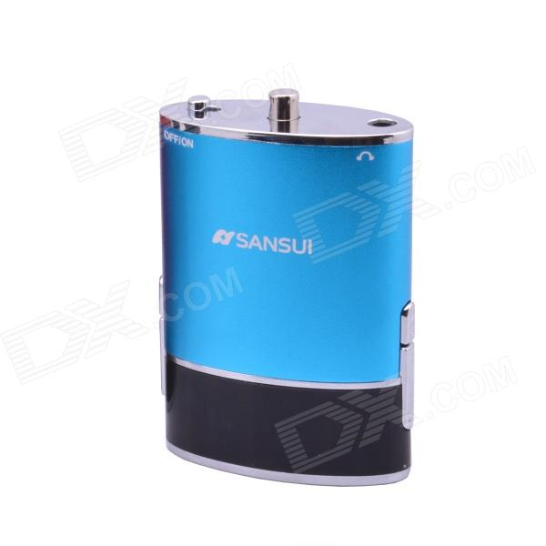 SANSUI E18 Portable Mini Multi-media Speaker w/ TF / FM / REC / LED Light / MP3 / Micro USB - Blue