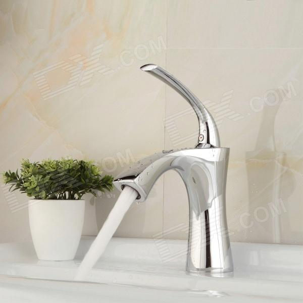 YDL-F-0573 Centerset Single Handle Chrome-plated Brass Bathroom Sink Faucet - Silver