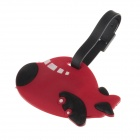 Lovely Plane Shaped Silicone Luggage Tag w/ Strap - Red + Black