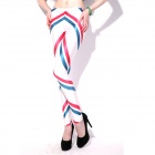 Elonbo Y1F6 Women's Stylish Stripe Patterned Tight-fitting Polyester + Spandex Leggings (Free Size)