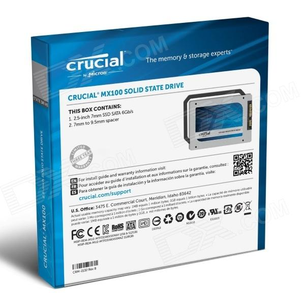 crucial mx100 256gb sata 2 5 7mm with adapter internal solid state drive ct256mx100ssd1. Black Bedroom Furniture Sets. Home Design Ideas