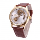 Sewor M104-3 Men's Fashionable Skeleton Self-winding Mechanical Watch - White + Brown