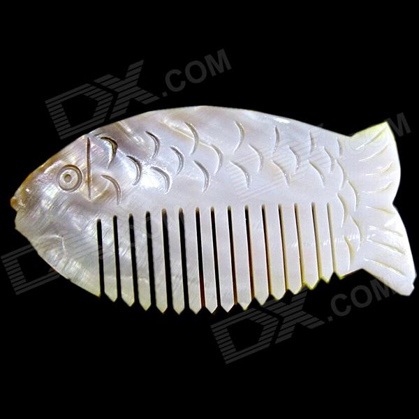 Creative Natural Shells Handmade Cute Fish Shaped Comb - Gray + Green