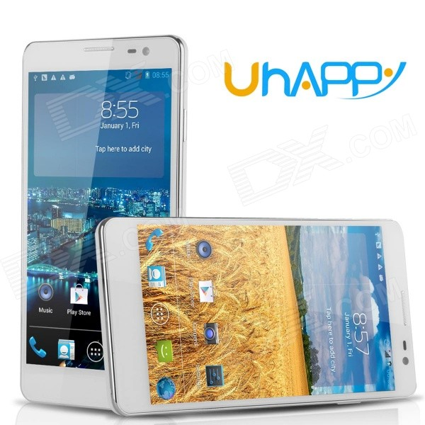 Uhappy UP520 MTK6582 Quad-Core Android 4.4 WCDMA Bar Phone w/ 5.0 QHD, 8GB ROM, 8MP, OTG - White