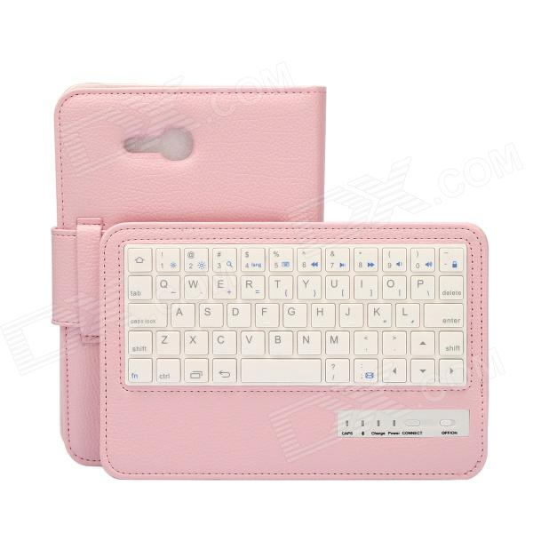 Detachable 57-Key Bluetooth V3.0 Keyboard PU Leather Case for Samsung Galaxy Tab T110 - Pink - DXTablet Keyboards<br>Color Pink Brand EPgate Model A00006 Quantity 1 Set Material PU + ABS Powered By Built-in Battery Compatible Brand Samsung Wireless or Wired Bluetooth Bluetooth Version V3.0 Interface USB 2.0 Keys 57 Operating Range 10 m Charging Time 2~2.5 Hour Battery Capacity 200 mAh Battery Number 1 Battery included or not Yes Supports System Android 4.x Other Features Compatible with Samsung Galaxy Tab T110; Super slim &amp; lightweight design; Soft touch PU leather &amp; Extreme quiet keyboard; Elegant outlook; Durable cover; State of art technology; Built-in rechargeable Li-ion battery Packing List 1 x Bluetooth V3.0 Keyboard PU leather Case 1 x USB charging cable (80cm) 1 x Chinese &amp; English User Guide<br>