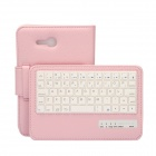 Detachable 57-Key Bluetooth V3.0 Keyboard PU Leather Case for Samsung Galaxy Tab T110 - Pink