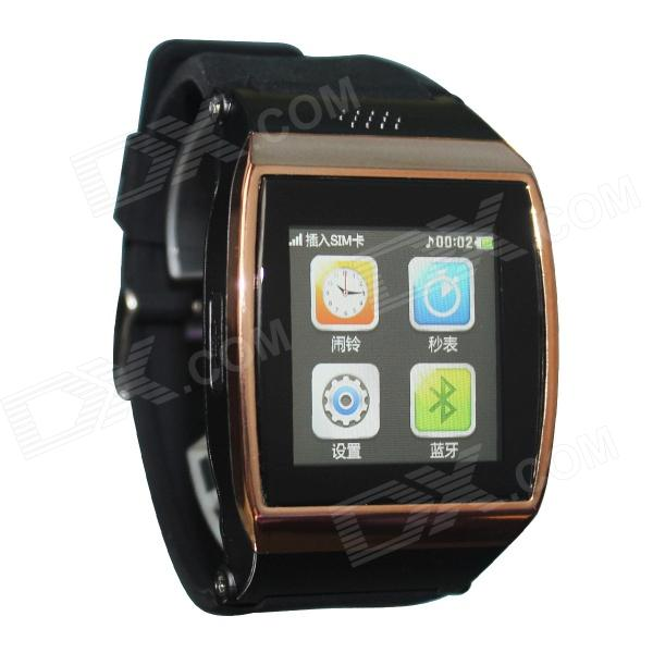 Hi Watch GSM Watch Phone w/ 1.55 Screen, Quad-core, Bluetooth V3.0 and Radio - Golden + Black i5 gsm wrist watch phone w 1 8 resistive screen quad band single sim and fm black