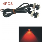 Kapeier 12V 1.5W 18mm Red LED Eagle Eye Daytime Running Light Reverse Lamp Bulb - Black (4PCS)