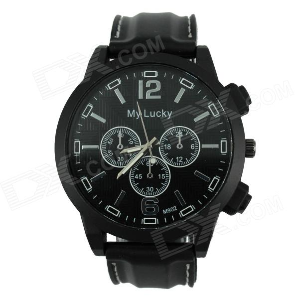 Men's Sports Style Large Dial Silicone Band Quartz Analog Wrist Watch - Black (1 x 377) men s silicone band big square dial quartz wrist watch black golden 1 x 377