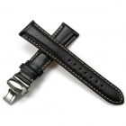 CHIMAERA 18mm / 16mm Genuine Cow Leather Replacement Watch Band Strap - Black