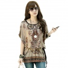 Fashion Loose Retro Milk Fiber Tops Shirt w/ Waist Belt for Women - Black + Khaki