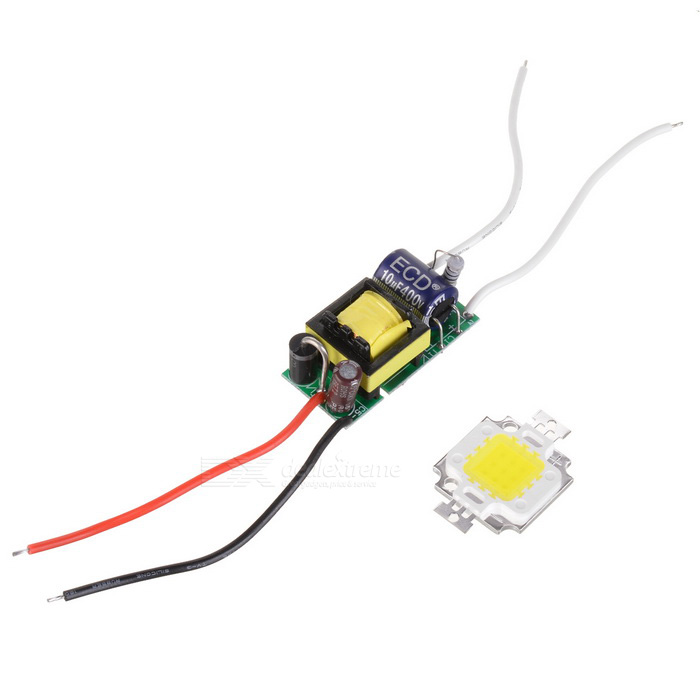 JRLED JRLED-10W-W 10W 900lm 6300K 1-LED White Light Emitter Board w/ Driver - White + Yellow (9~11V)