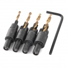 Professional 4-in-1 8# / 9# / 10# / 12# Round Handle Cone Drill Bits Set - Black + Golden