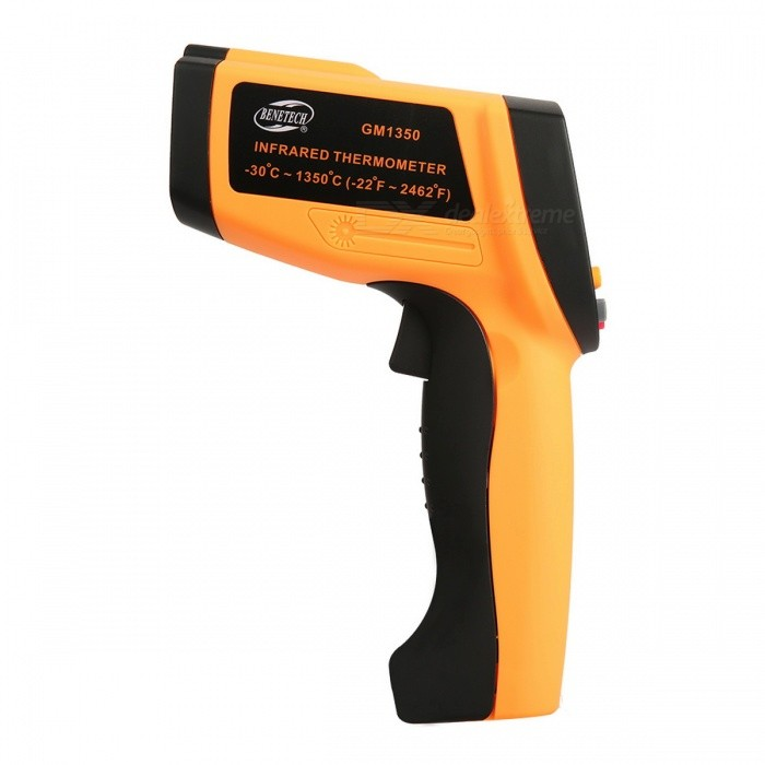 BENETECH GM1350 Infrared Temperature Tester Thermometer - Orange + Black benetech gm320 1 2 lcd infrared temperature tester thermometer orange black 2 x aaa