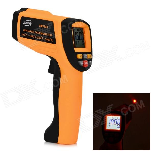 BENETECH GM1650 Infrared Temperature Tester Thermometer - Orange + Black benetech gm320 1 2 lcd infrared temperature tester thermometer orange black 2 x aaa