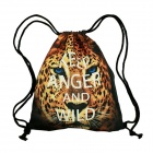 3D Dye Printing Canvas Drawstring Backpack - Leopard + Black