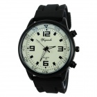 Weijieshi 699 Men's Sport Steel Alloy Case Silicone Band Quartz Analog Wrist Watch - Black + Blue