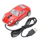 Car-Shaped USB 2.0 Optical Wired Mouse - Red (117cm-cable)