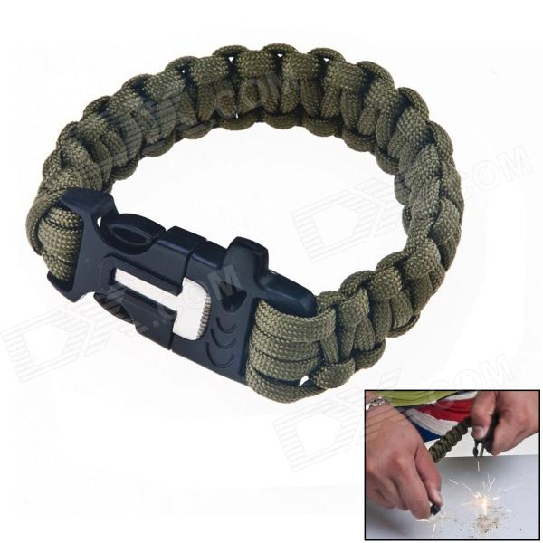 HanDao Outdoor Paracord Survival Bracelet w/ Flint Fire Starter Scraper + Whistle Gear Kit
