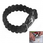 HanDao Outdoor Paracord Survival Bracelet w/ Flint Fire Starter Scraper + Whistle Gear Kit - Black