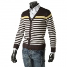 1401-Q25 Men's Fashionable Casual Striped Wool V-Neck Knitwear - Coffee + White (XL)