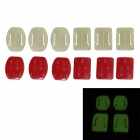 BZ Glow-in-the-Dark 3+3 Square + Oval Mount Set Accessories for GoPro Hero3 + More - White + Red