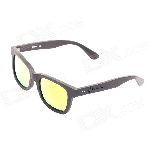 OREKA 14009 UV400 Protection Cellulose Acetate Frame Resin Lens Sunglasses - Black + Yellow REVO oreka children s cool cellulose acetate frame blue revo lens uv400 sunglasses brown blue