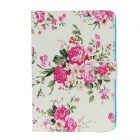 Stylish Peony Pattern Protective PU Leather Case for IPAD Mini 1 / 2 - Pink + Multicolored
