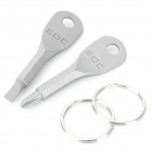 EDCGEAR Portable Outdoor Stainless Steel Slot / Cross Head Screwdriver Tool - Grey (2PCS)