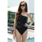 Women's Sexy One Piece Single Shoulder Irregular Nylon Monokini Swimwear Swimsuit - Black (L)