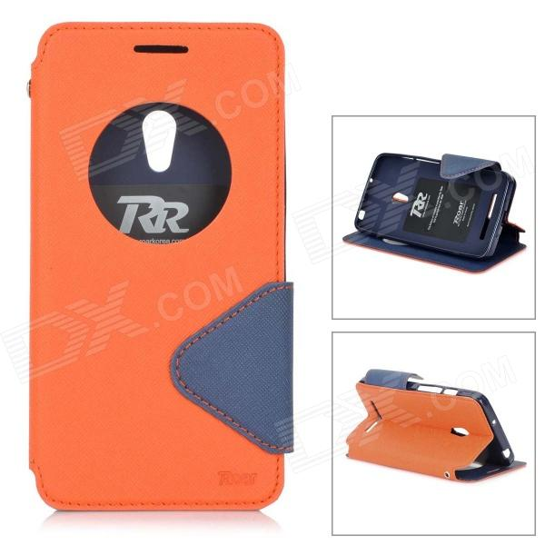 Roar Stylish Flip Open TPU + PU Case w/ Stand / Display Window for Asus ZenFone 5 - Orange + Black roar korea for iphone 7 4 7 diary view window two tone leather case orange