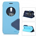 Roar Flip Open TPU + PU Case w/ Stand / Card Slots for Asus ZenFone 5 - Blue + Black