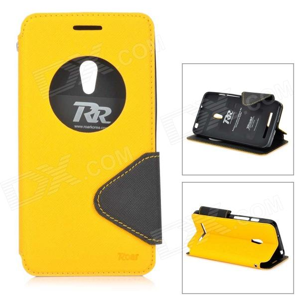 Roar Flip Open TPU + PU Case w/ Stand / Display Window for Asus ZenFone 5 - Yellow