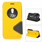 Roar Flip Open TPU + PU Case w/ Stand / Display Window for Asus zen fone 5 - Yellow