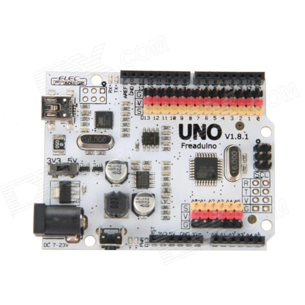 ElecFreaks Freaduino UNO Rev1.8 for Arduino - DXBoards &amp; Shields<br>Freaduino UNO is an Arduino compatible board. It is based on Arduino UNO Rev3 design. So you can use Freaduino as Arduino UNO Rev3 . All code shield and IDE for Arduino UNO Rev3 are also valid on Freaduino UNO. Some visible improvement on hardware make Freaduino UNO more flexible and easier to use. For example: 3.3v or 5v IO selectable allow you connect some 3.3v modules (such as XBee) to Freaduino directly. SPI COM and IIC bus breakout make bus connect easier. The Arduino Uno Rev3 is a microcontroller board based on the ATmega328 (datasheet). It has 14 digital input/output pins (of which 6 can be used as PWM outputs) 6 analog inputs a 16 MHz crystal oscillator a USB connection a power jack an ICSP header and a reset button. It contains everything needed to support the microcontroller; simply connect it to a computer with a USB cable or power it with a AC-to-DC adapter or battery to get started. The Uno differs from all preceding boards in that it does not use the FTDI USB-to-serial driver chip. Instead it features the Atmega8U2 programmed as a USB-to-serial converter.UNO means one in Italian and is named to mark the upcoming release of Arduino 1.0.<br>